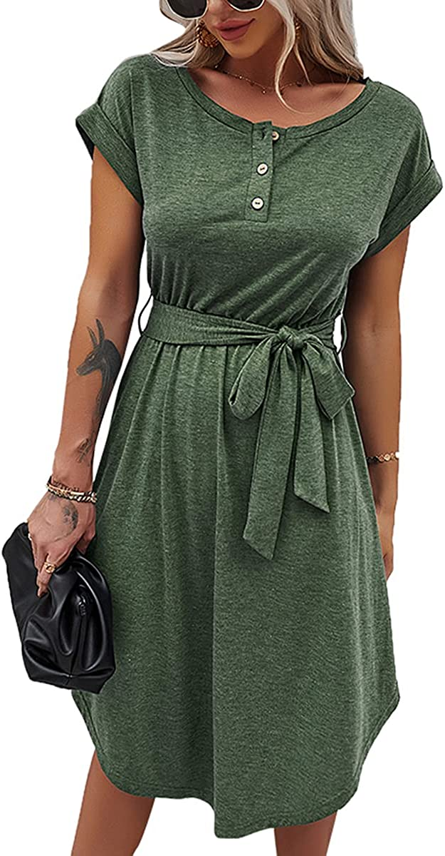 Pearl Angeli Casual Spring Summer Dress for Women Loose Comfy Short Sleeve Buttons Up T-Shirt Dress with Belt