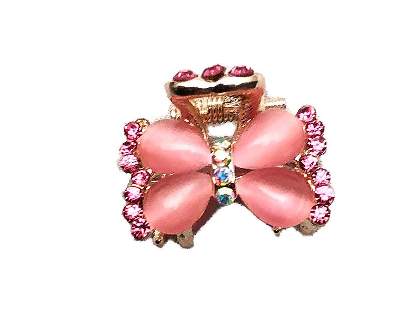 以下国大胆クリップ バンスミニミニ キャッツアイパーツ蝶(XY121336)ピンク
