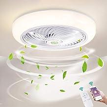 Ø46cm Dimmen Plafondventilator met verlichting LED 36W Dimbaar Plafondverlichting met afstandsbediening en APP, Ventilator...