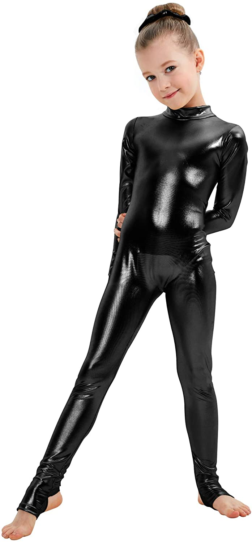 Kepblom Girls Shiny Metallic Mock Neck Long Zippe Unitard Popular 5 popular product Sleeve