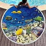 XHJQ88 Sommer Rund Strandtuch Decke mit Fransen Blau Ozean Meer Fisch Motto Gobelin Mehrzweck-Urlaub...