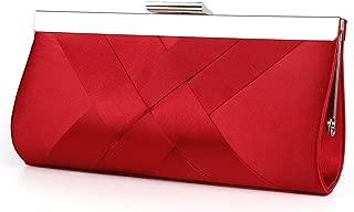 Satin Evening Bag Clutch, Party Purse, Wedding Handbag with Chain Strap for Women