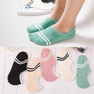 5 Pares/Lote Calcetines De Rayas De Color Caramelo Calcetines De Algodón para Niñas Calcetines De Mujer Tobillo De Corte Bajo Medias Invisibles Zapatillas De Mujer Beige