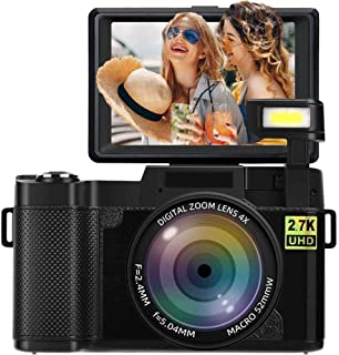 Digital Camera Vlogging Camera 2.7K 24MP Full HD Camera for YouTube 3.0 Inch 180 Degree Rotation Flip Screen with Retractable Flash Light