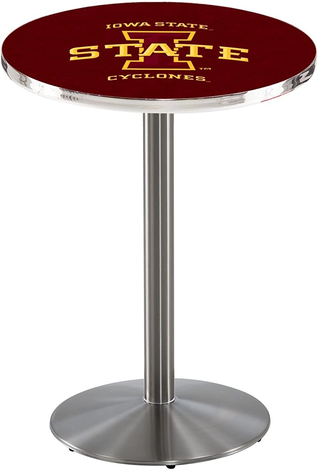 L21436  Stainless Steel Iowa State Pub Table by Holland Bar Stool Co.