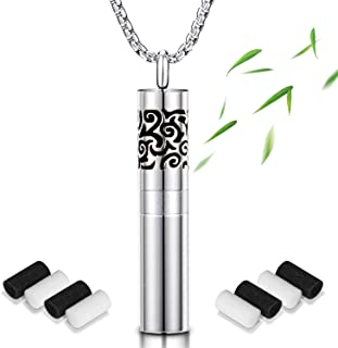 Essential Oil Diffuser Necklaces for Women Stainless Steel Aromatherapy Locket Gift Set Flower