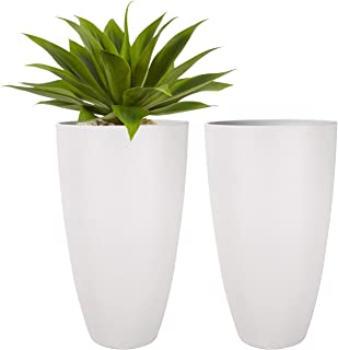 LA JOLIE MUSE Tall Planters Outdoor Indoor - Tree Planter 20 inch Modern White Flower Pots with Drainage Holes for Balcony...