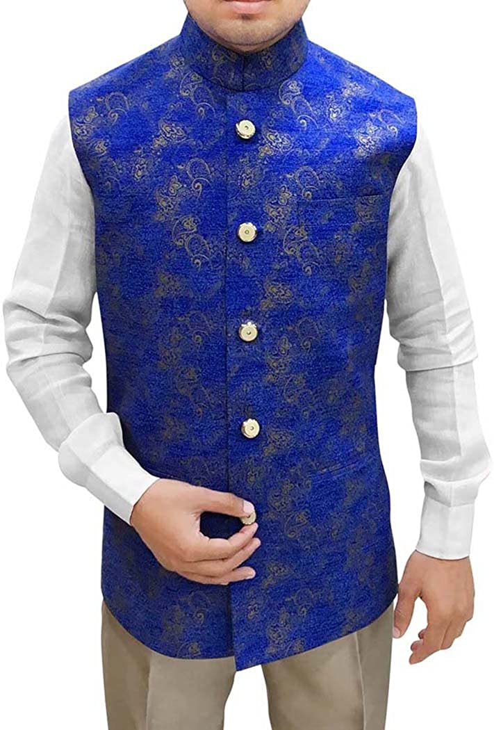 INMONARCH Mens Royal Blue Modi Jacket Nehru Vest Floral Print NV96
