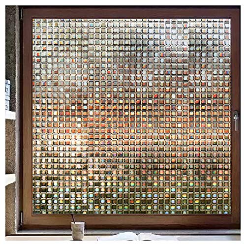rabbitgoo 3D Decorative Window Film, Non-Adhesive Privacy Films - Frosted Window Glass Film for Home Office, Removable Rainbow Window Tint Film, Brown Mosaic Patterns, 35.4 x 78.7 inches