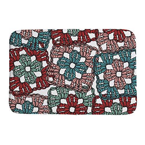HaoXiang Dekorative Korallen-Samt-Fußmatte, rutschfest, leicht zu reinigen, einzigartiges Design, OneSize gehäkelte Granny Quadrate, Korallenvlies, Pattern, 31 x 20 inch