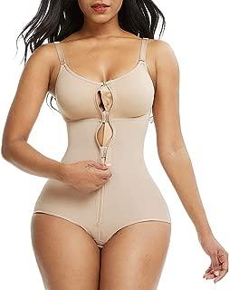Sekluxy Women Shapewear Bodysuit Straps Tummy Control Waist Trainer Cincher Body Shaper Zipper