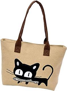 Sannysis Frauen-Schulter-Beutel-Segeltuch-Tasche Niedliche Katzen-Tasche Büro-Mittagessen-Beutel