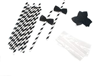 SenseYo 60 pcs Bow Ties Decorative Paper Drinking Straws Little Man Cocktail Straws for Birthday Wedding Baby Shower Theme Party Decoration Supplies