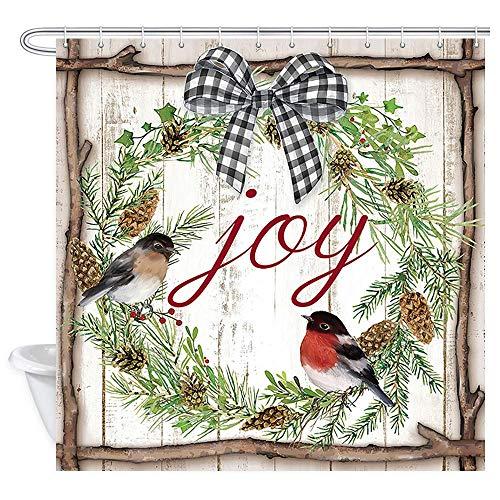 Guirnalda de flores navideñas con flores cardenales piñones rama de pino en madera rústica, fiesta de invierno, cortina de baño de tela, cortina de baño de Navidad de 172 x 172 cm