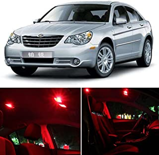 SCITOO LED Interior Lights 15 pcs Red Package Kit Accessories Replacement Fits for Chrysler Sebring 2006-2010