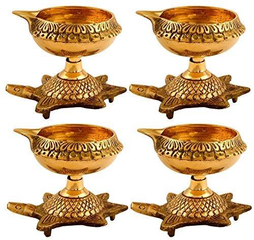 Hashcart Öllampe, handgefertigt, indischer Puja-Messing, goldene Diya-Lampe, graviert, Durchmesser mit Schildkrötenfuß
