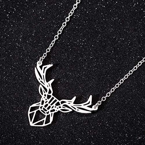 Collares de ciervo Origami personalizados a la moda para mujer, joyería geométrica minimalista de acero inoxidable, joyería de animales salvajes Collar de la amistad Regalo de San Valentín