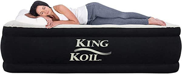 King Koil California King Luxury Raised Air Mattress With Built In 120V AC High Capacity Internal Pump Comfort Quilt Top California King Airbed For Home Camping Travel 1 Year Manufacturer Guarantee