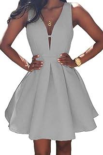 a349836820 Bellis Women s 2019 Black Satin Deep V Neck Party Dress Simple A Line Short Prom  Evening
