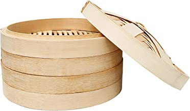 10 Inch Bamboo Steamer, 2 Tier Natural Bamboo Dumpling Steamer, for Cooking Vegetables and Dumplings, Healthy Food Prep, G...