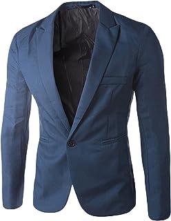 Bestgift Men's Solid Color Slim One Button Blazer Royal Blue L