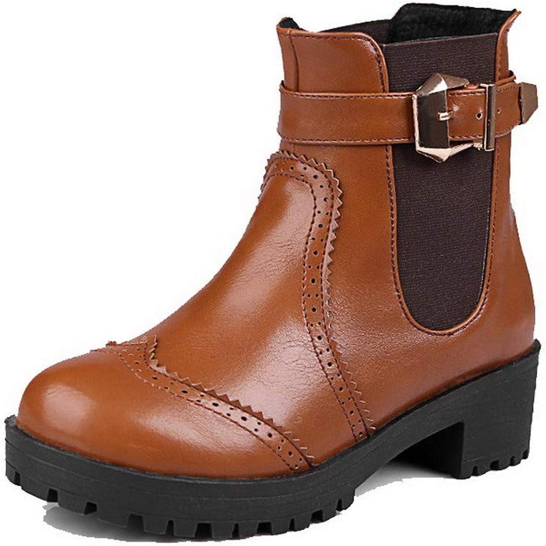 AmoonyFashion Women's Pu Buckle Round-Toe Kitten-Heels Ankle-High Boots, BUSXT114642