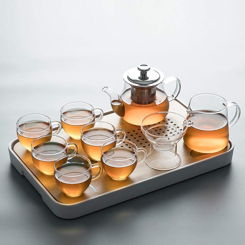 LKOBN Ensemble de thé en Verre Ensemble Anti-ébouillantage de ménage Plateau de thé Sec Simple Ménage Oreille Fine Tasse à thé Filtre Ensemble de thé Bubble Set, F