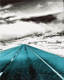 手工涂料 DIY画 数码油画 油画 数字套件绘画 儿童 成人 面向初学者 操作简单40x50cm(フレームレス)雪の道