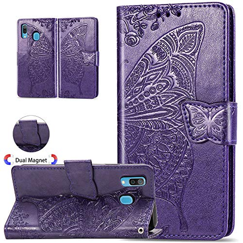 ISADENSER Galaxy A30 Case Galaxy A20 Case Elegant Embossing Totem Butterfly Wing PU Leather Flip Wallet Bookstyle Magnetic Card Slot Stand Cover for Samsung Galaxy A30 / A20, Butterfly Wing Purple XD