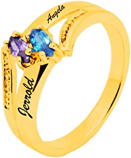xykj Jewerly Personalized Engagement Rings for Women 2 Created Birthstone Mothers Child Rings Promise Rings for Her