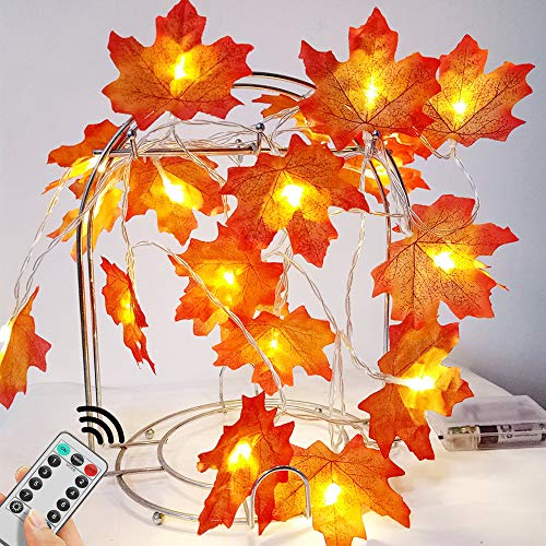 5M Autumn Maple String Light 50 LED Fairy Light 8 Modes Switch (with Remote Control) IP44 Battery Powered for Thanksgiving Room Decoration Birthday Party Wedding Garden