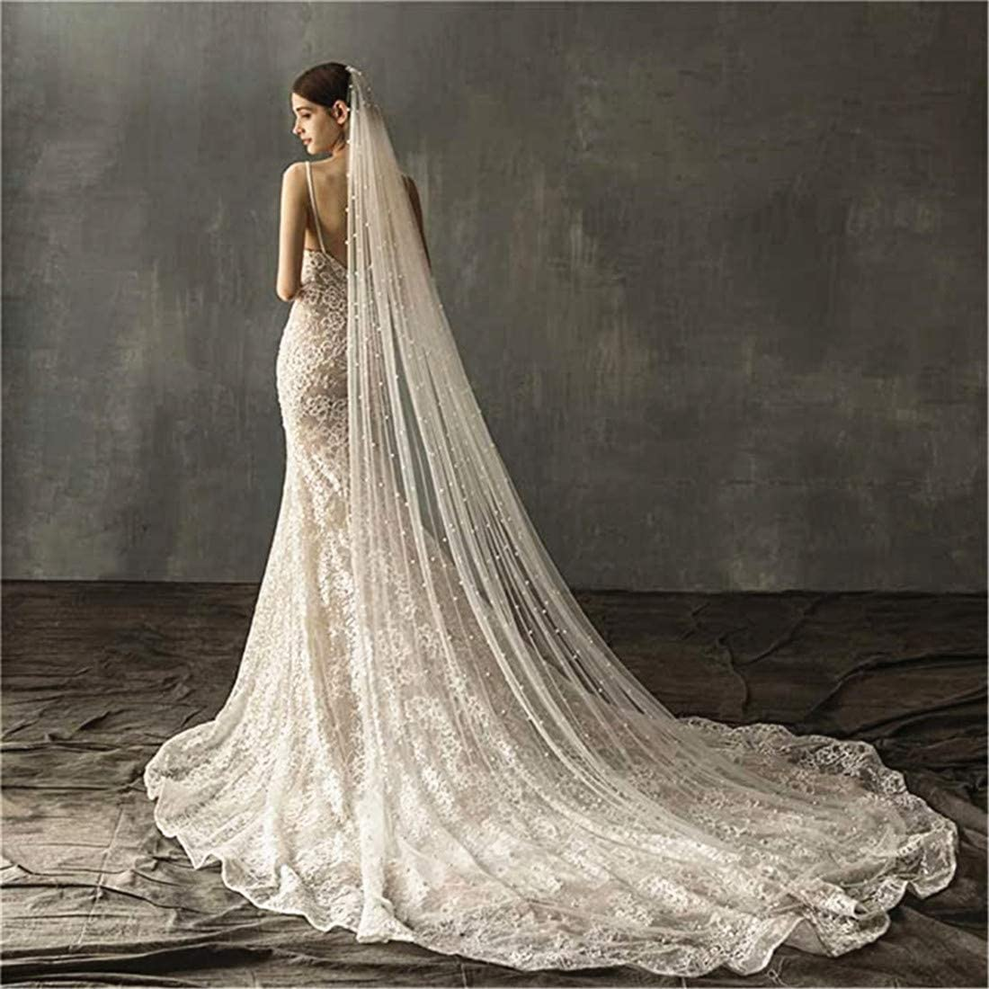 Pearl Wedding Veil for Bride Long Bridal Veil with Beading Comb Cathedral Length