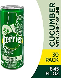 Perrier Cucumber Lime Flavored Carbonated Mineral Water, 8.45 fl oz. Slim Cans (30 Count)