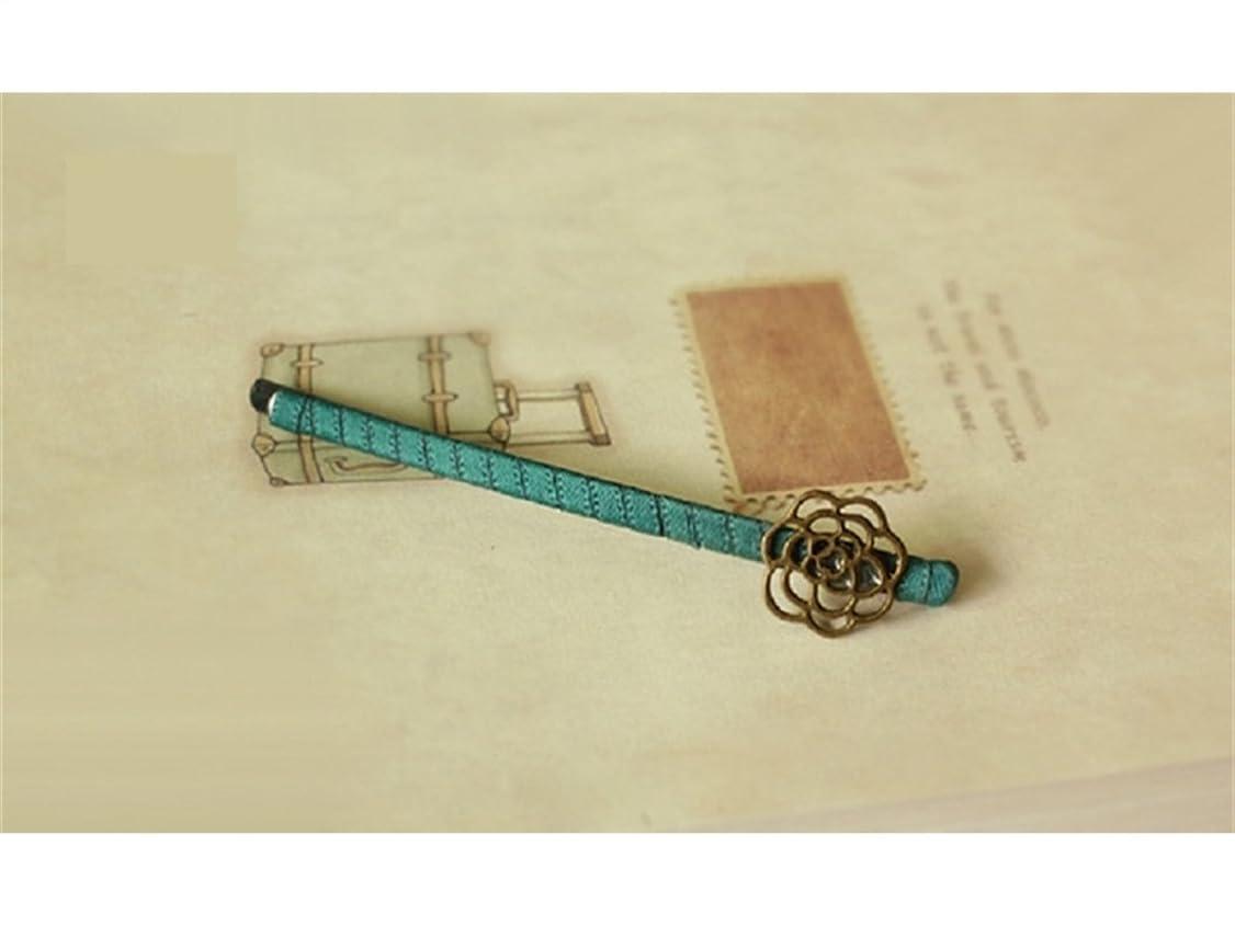 項目獣堤防Osize 美しいスタイル シンプルなローズフラワーヘアクリップピュアカラーファブリックサイドクリップヘアピン(ダークグリーン)