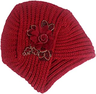 Bullidea 1pc Soft Warm Knit Scarf Hat of Flower Design Thick Beanie Cap for Women Girls in Winter(Red)
