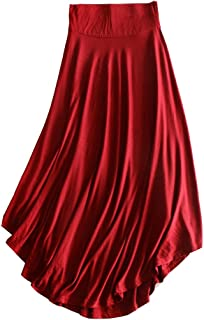 Runyue Women's Casual High Waist Comfy Loose Flared Swing Elasticated Waist Ankle Length A-Line Skirt