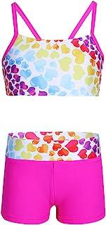 TiaoBug 2PCS Girls Tankini Heart-Shaped Pattern Bowknot Back Swimsuit Swimwear Bathing Suit Set
