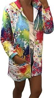 PEIZH Womens Tie Dyed Printed Pocket Hooded Jacket Fashion Tie Dyeing Print Coat Outwear Sweatshirt Hooded Jacket Overcoat