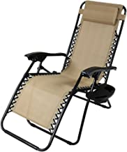 Sunnydaze Outdoor Zero Gravity Lounge Chair with Pillow and Cup Holder, Folding Patio Lawn Recliner, Khaki
