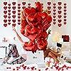 Palloncini a Forma di Cuore, MMTX Lattice Palloncini e Pompa e Candele Rosse, Seta Petali,Cuore Rosso Grande per Matrimoni, Anniversari, San Valentino (Cuore) #4