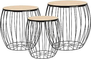 Festnight Tables gigognes | Table Basse | 3pcs Table de Salon | Table Basse Design en Bois Massif Noir en Fer