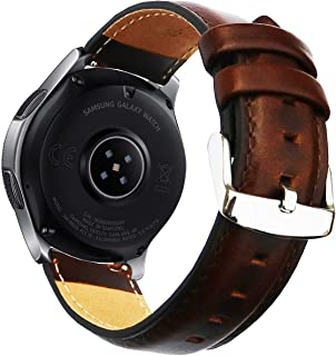OTOPO for Galaxy Watch 46mm Band/Ticwatch Pro Band, 22mm Quick Release Genuine Leather Strap with Stainless Steel Buckle for Samsung Gear S3 Classic/Frontier Smartwatch- Brown