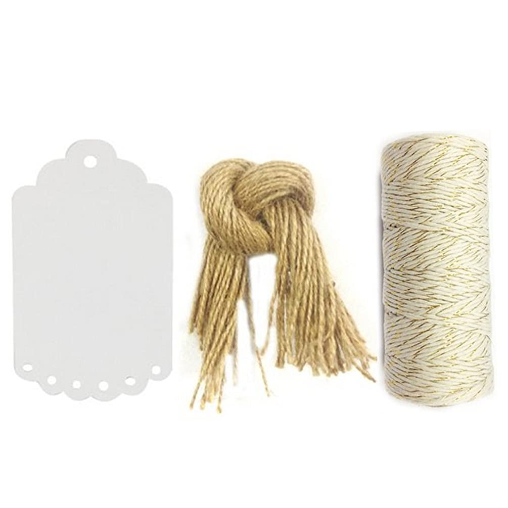 Wrapables 50 Gift Tags/Kraft Scalloped Edge Hang Tags with Free Cut Strings and 12ply 110-Yard Cotton Baker's Twine, White/Gold Metallic