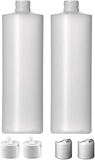 2 Pack Refillable 16 Ounce Plastic Squeeze Bottles With BOTH Press Disc Caps And Flip Up Spout Caps-Natural Translucent Co...
