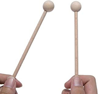 Wood Mallets Percussion Sticks for Xylophone, Chime, Wood Block, Glockenspiel and Bells, 8 Inch Long