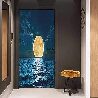 Door Wallpaper Murals Ocean Magical Super Moon Over Ocean Surface Midnight View Dreamy Mystic Picture Print WallStickers W36 x H79 Yellow Navy