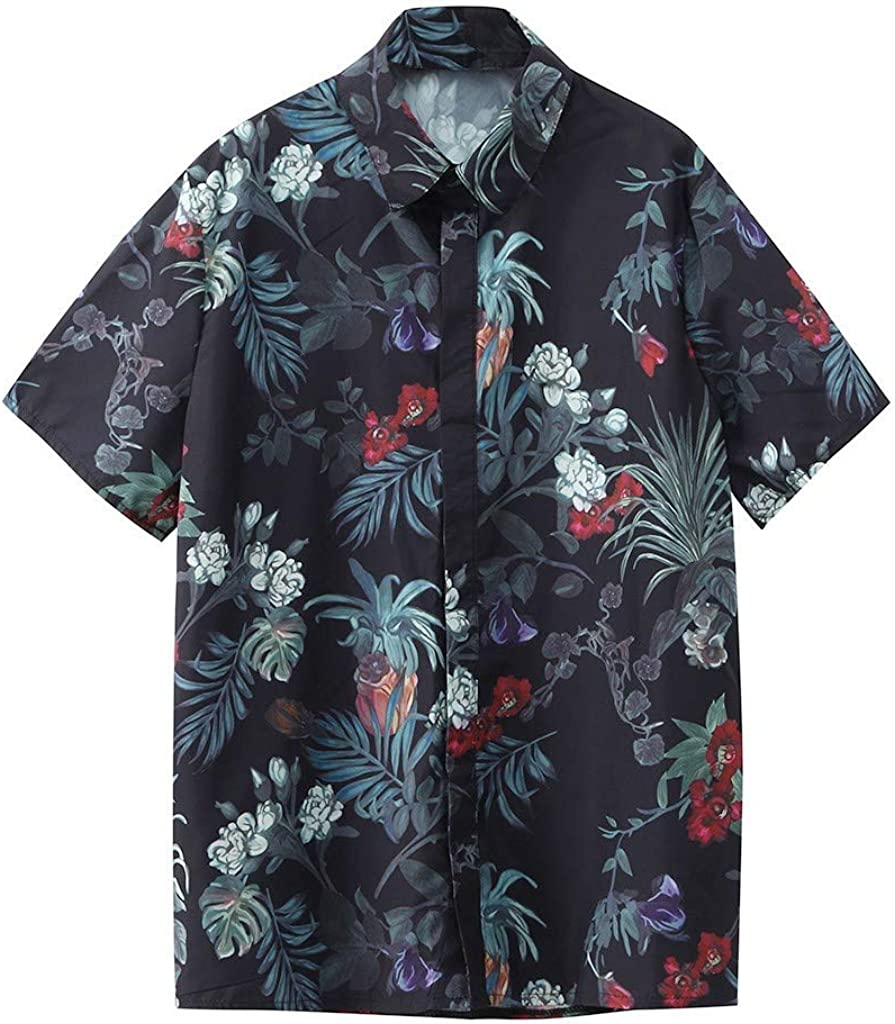MODOQO Men's Tropical Hawaiian Shirt Summer Printed Loose Fit Short Sleeve Tees