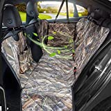 KIMHY Camo Dog Seat Cover for Pets, Car Back Seat Cover Hammock with Side Flaps, Mesh Window & Storage Bag, Waterproof Pet Seat Cover for Cars , SUV, Jeeps and Trucks