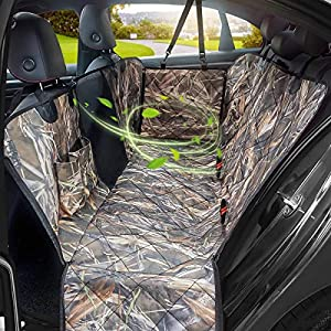 KIMHY Camo Dog Seat Cover for Pets, Car Back Seat Cover Hammock with Side Flaps, Mesh Window & Storage Bag, 100% Waterproof Pet Seat Cover for Cars , SUV, Jeeps and Trucks