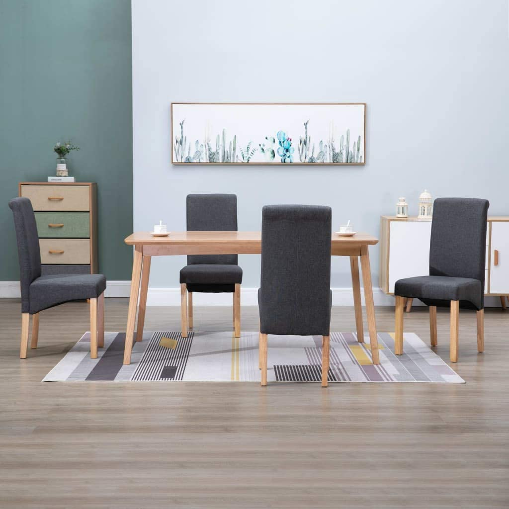 Jinxuny Branded goods Superior Dining Chairs 4 Gray Fabric pcs